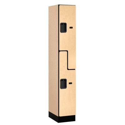 37000 Series 12 in. W x 76 in. H x 18 in. D 2-Tier S-Style Designer Wood Locker in Maple