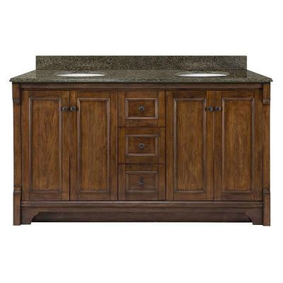 Creedmoor 61 in. W x 22 in. D Vanity in Walnut with Granite Vanity Top in Quadro with White Basins