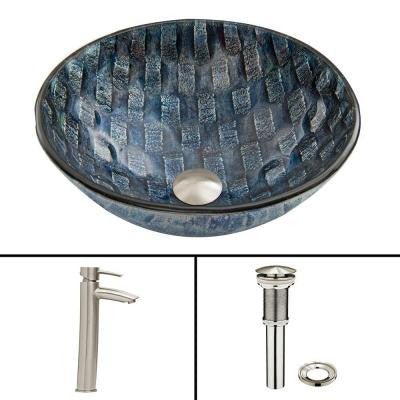 Glass Vessel Sink in Rio and Shadow Faucet Set in Brushed Nickel