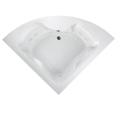Cadet 5 ft. Corner EverClean Whirlpool Tub with Center Drain in White
