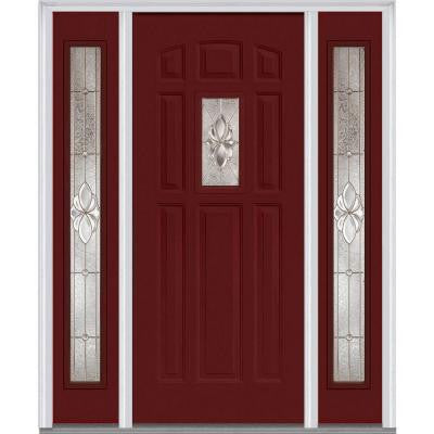 64 in. x 80 in. Heirloom Master Decorative Glass 1/4 Lite Painted Majestic Steel Prehung Front Door with Sidelites
