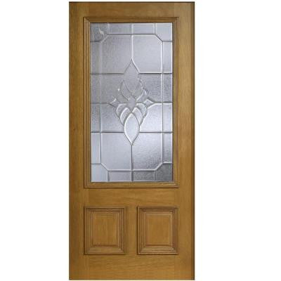 36 in. x 80 in. Mahogany Type 3/4 Glass Prefinished Walnut Beveled Zinc Solid Wood Front Door Slab