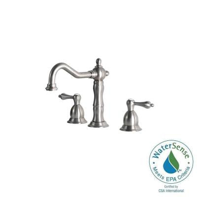 6 in. - 12 in. Widespread 2-Handle Bathroom Faucet with Metal Lever Handles in Stainless Steel