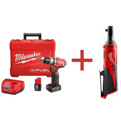M12 FUEL 12-Volt Lithium-Ion Brushless 1/2 in. Cordless Hammer Drill/Driver Kit with M12 1/4 in. Ratchet