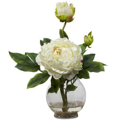 13.5 in. H White Peony with Fluted Vase Silk Flower Arrangement