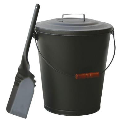 Olde World Iron Finish Ash Bin with Lid and Shovel