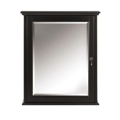 Newport 24 in. W x 28 in. H Mirrored Wall Cabinet in Black