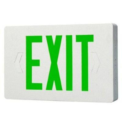 2-Light White LED Exit Sign with Green Letters