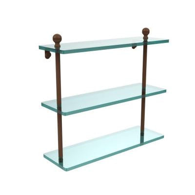 Mambo Collection 16 in. W Triple Tiered Glass Shelf in Antique Bronze