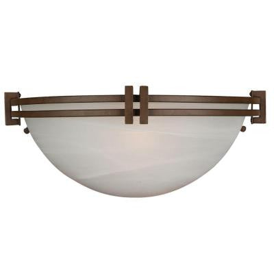Sequoia Collection 1-Light Brown Sconce with Frosted Alabaster Glass Shade