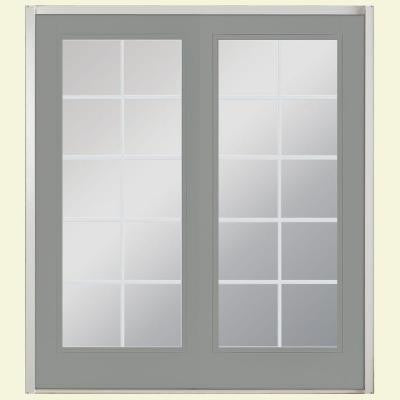 72 in. x 80 in. Silver Cloud Prehung Right-Hand Inswing 10 Lite Fiberglass Patio Door with No Brickmold