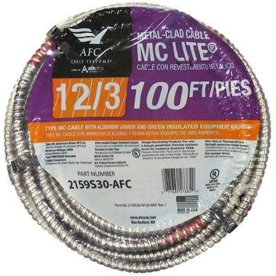 100 ft. 12-3 Stranded MC Lite Cable
