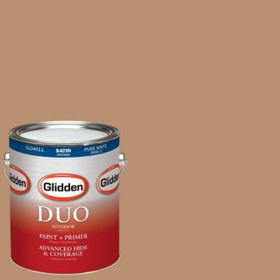1-gal. #HDGO38D Light Autumn Brown Satin Latex Interior Paint with Primer