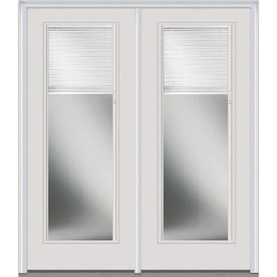 64 in. x 80 in. Classic Clear Glass Full Lite Prehung Left-Hand Inswing Fiberglass Smooth RLB Patio Door