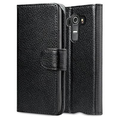Leather Book Wallet Case for LG G4 Case - Black