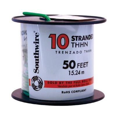 50 ft. 10 Stranded THHN Wire Green