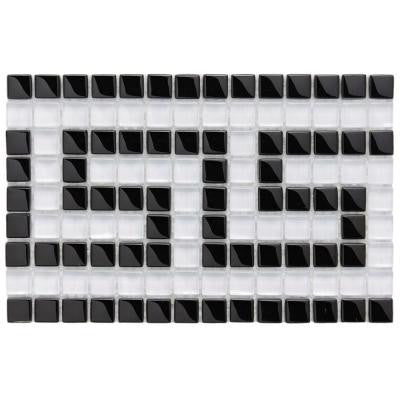 Tessera Ice White Greek Key 5-7/8 in. x 9-1/8 in. x 8 mm Glass Border Mosaic Wall Tile