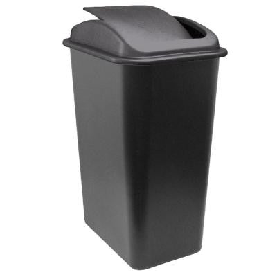 41 Qt. Black Wastebasket with Universal Lid