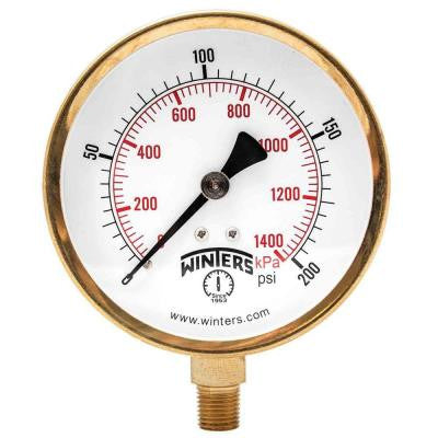 P1S 100 Series 3.5 in. Steel Case Pressure Gauge with 1/4 in. NPT Bottom Connect and Range of 0-200 psi/kPa