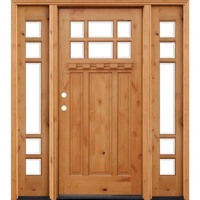 72 in. x 80 in. Craftsman Rustic 6 Lite Stained Knotty Alder Wood Prehung Front Door w/ 12 in. Sidelites & Dentil Shelf