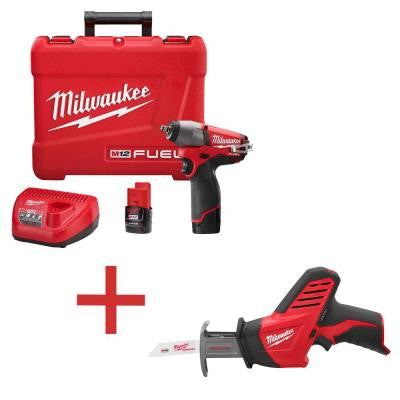 M12 FUEL 12-Volt Lithium-Ion 3/8 in. Cordless Impact Wrench Kit with M12 HACKZALL Reciprocating Saw (Tool-Only)