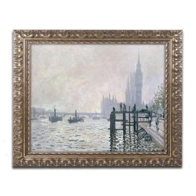 "16 in. x 20 in. ""The Thames Below Westminster"" by Claude Monet Framed Printed Canvas Wall Art"