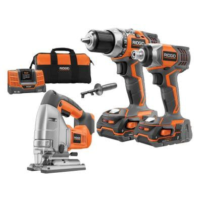 18-Volt Lithium-Ion Cordless Drill/Impact/Jigsaw Combo Kit (3-Tool)