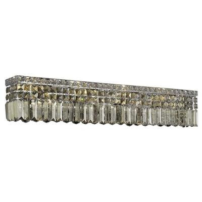 8-Light Chrome Sconce with Golden Teak Smoky Crystal