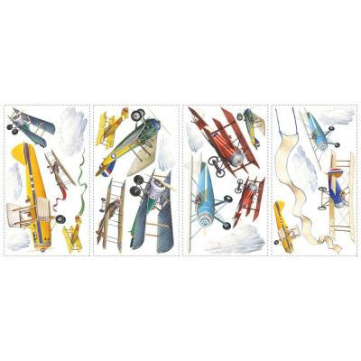 10 in. x 18 in. Vintage Planes 22-Piece Peel and Stick Wall Decals