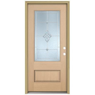 36 in. x 96 in. Rosemont 3/4 Lite Unfinished Hemlock Wood Prehung Front Door with Brickmould and Zinc Caming