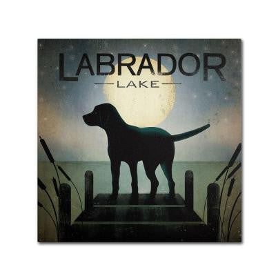 "24 in. x 24 in. ""Moonrise Black Dog Labrador Lake"" by Ryan Fowler Printed Canvas Wall Art"