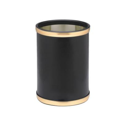 Sophisticates 10 in. Black with Brushed Gold Round Trash Can