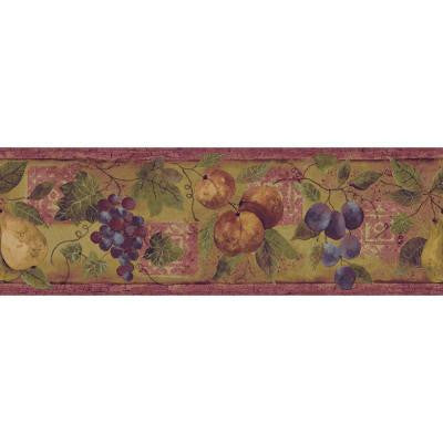 8 in. x 15 ft. Earth Tone Abundance of Fruit Border