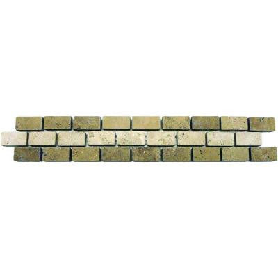 Broken Joint Noche/Chiaro 2 in. x 12 in. Travertine Listello Floor and Wall Tile