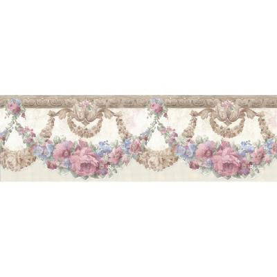 6 in. W x 180 in. H Marianne Pink Floral Bough Wallpaper Border