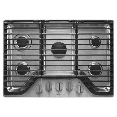 30 in. Gas Cooktop in Stainless Steel with 5 Burners including EZ-2-Lift Hinged Grates