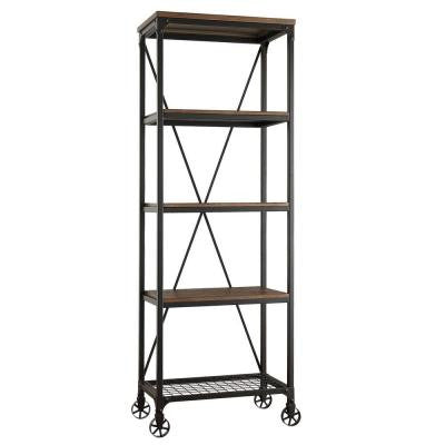 Cabella 4-Shelf Bookcase with Metal Frame in Distressed Ash