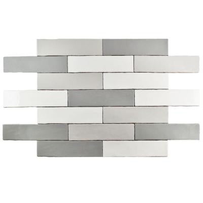 Alaska Craquelle Gris Mix 3 in. x 12 in. Ceramic Wall Tile (4 sq. ft. / pack)