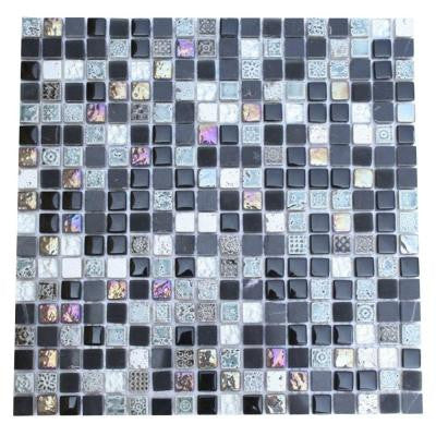 Aztec Art Blackboard Glass 12 in. x 12 in. x 8 mm Glass Mosaic Floor and Wall Tiles
