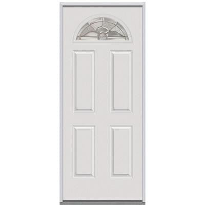 32 in. x 80 in. Master Nouveau Decorative Glass 1/4 Arch Lite 4-Panel Primed White Steel Replacement Prehung Front Door