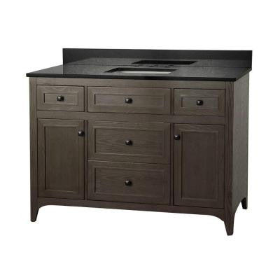 Westwood 49 in. Vanity in Driftwood with Granite Vanity Top in Black and White Basin