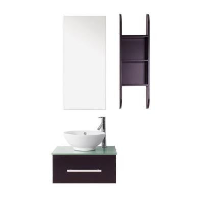 Primo 24 in. Single Basin Vanity in Espresso with Tempered Glass Vanity Top in Aqua and Mirror