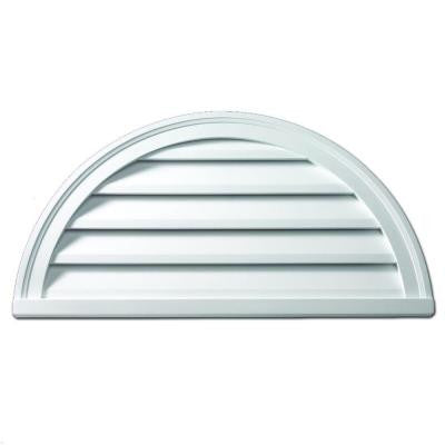 42 in. x 21 in. x 2 in. Polyurethane Functional Half Round Louver Gable Vent