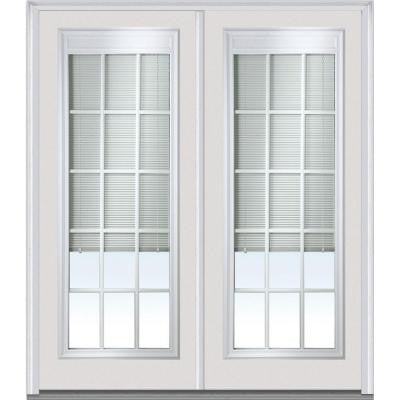 64 in. x 80 in. Classic Clear RLB GBG Low-E Full Lite Painted Fiberglass Smooth Double Prehung Front Door