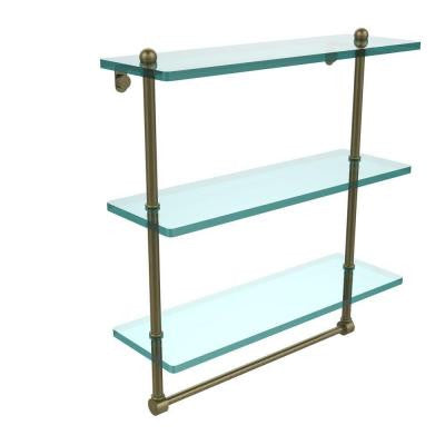 16 in. W x 16 in. L Triple Tiered Glass Shelf with Integrated Towel Bar in Antique Brass