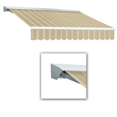 10 ft. Destin-LX Manual Retractable Acrylic Awning with Hood (96 in. Projection) in Linen/Almond/White