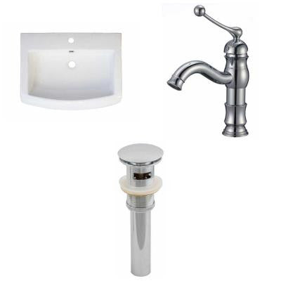 24 in. W x 18 in. D Ceramic Vanity Top Set with Basin in White with Single Hole cUPC Faucet and Drain