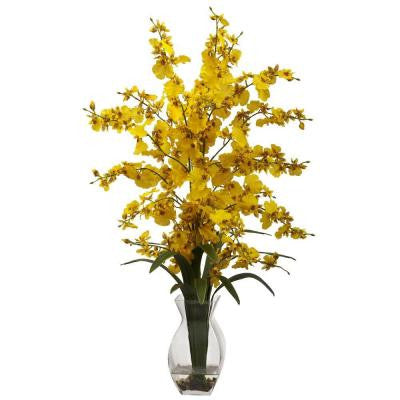 Dancing Lady Orchid with Vase Arrangement in Yellow