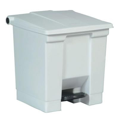 8 Gal. White Step-On Trash Can
