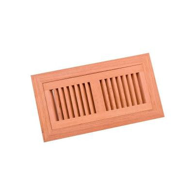 4 in. x 10 in. Wood Brazilian Cherry Unfinished Flush Mount Vent Register